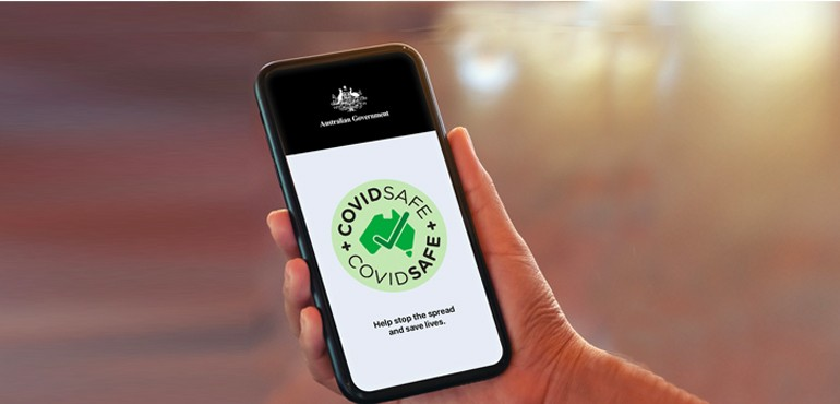 A person using the COVIDSafe app.